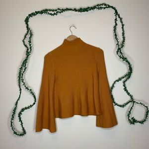 Vintage Mock Neck Rust Bell Sleeve Sweater